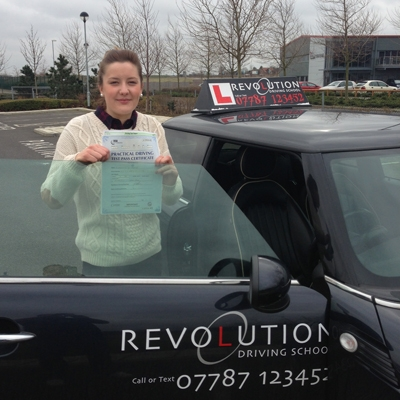 Image of Charlotte Askew with pass certificate - Revolution Driving School