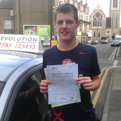 Image of Jake Gregg with pass certificate - Revolution Driving School