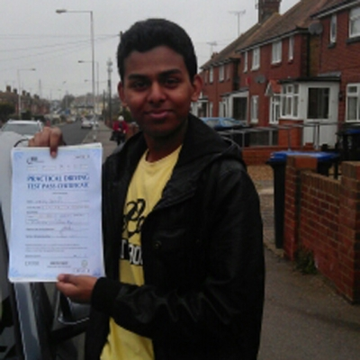 Image of Jerry Dominic with pass certificate - Revolution Driving School