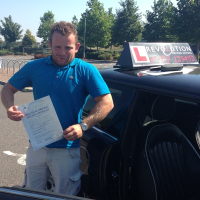 Image of JOE WHAMBY with pass certificate - Revolution Driving School