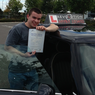 Image of Tom Wright with pass certificate - Revolution Driving School